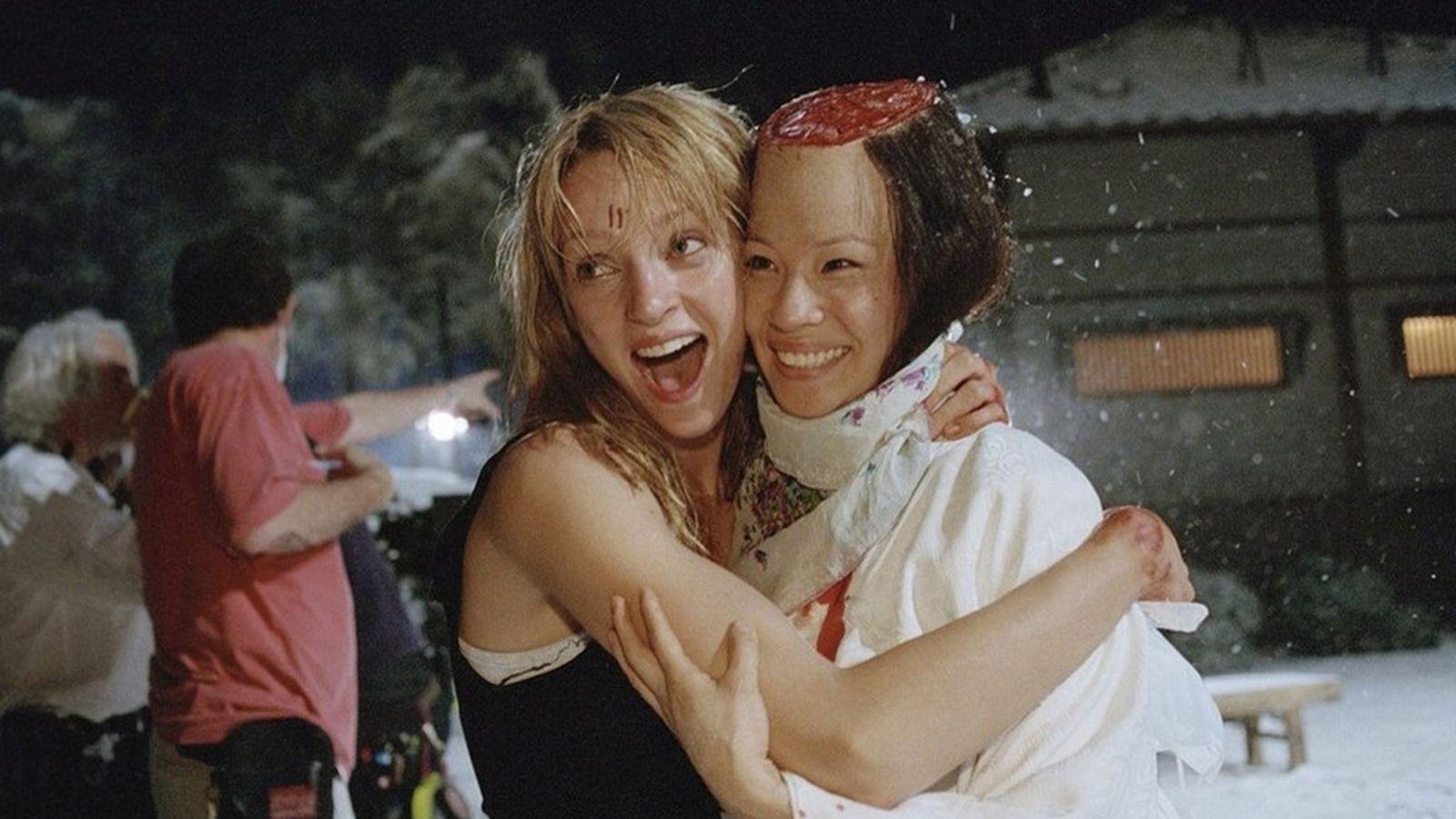 Uma Thurman et Lucy Liu sur le tournage du film Kill Bill Volume 1